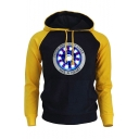 New Stylish Colorblock Long Sleeve Iron Heart Printed Casual Pullover Hoodie