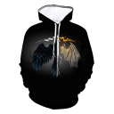 New Stylish Cool Ice and Fire Dragon Printed Long Sleeve Black Drawstring Hoodie