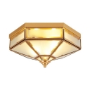 Foyer Shop Hexagon Ceiling Lamp Frosted Glass 3/4 Lights Brass Flush Mount Light