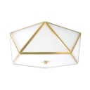 Simple Style Pentagon Ceiling Lamp Frosted Glass 3 Lights White Flush Ceiling Light for Bedroom