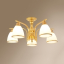 5 Lights Bell Ceiling Light Antique Metal Semi Flush Mount Light in Black/Gold for Hotel