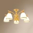 5 Lights Bell Ceiling Light Antique Metal Semi Flush Mount Light in Black/Gold for Hotel