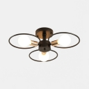 Creative Ring Semi Flush Light Metal 3/6/9 Lights Black Ceiling Lamp for Living Room