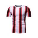 Men's New Trendy Striped Print Short Sleeve Round Neck Slim Fit T-Shirt