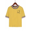 Stylish Rib Round Neck Striped Short Sleeve Planet Printed Yellow Casual Tee