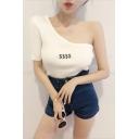 Popular Dollar Printed Oblique One Shoulder Slim Fit Knit T-Shirt for Women