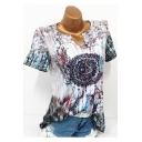 Summer Stylish Tribal Printed Basic V-Neck Short Sleeve Loose Casual T-Shirt