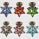 1 Light Star Flush Mount Light Tiffany Style Frosted Glass Ceiling Light for Kitchen Bathroom