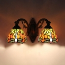 Stair Hallway Dragonfly Wall Sconce Stained Glass 2 Lights Tiffany Style Antique Wall Lamp