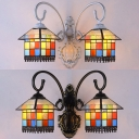 Stained Glass House Sconce Light Double Lights Tiffany Style Antique Wall Light for Hotel