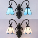 Vintage Style Cone Wall Light Blue/White Glass 2 Lights Sconce Light for Bedroom Kitchen