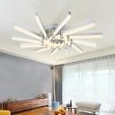 Matchsticks LED Semi Flush Light Fixture Nordic Style Aluminum Multi Lights Ceiling Light in Neutral
