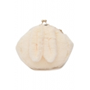 Cute Plain Rabbit Ear Patched Plush Crossbody Bag with Chain Strap