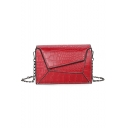 Chic Retro Crocodile Pattern Square Crossbody Bag with Chain Strap 20*8*15 CM