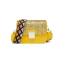 Trendy Geometric Strap Sequin Square Crossbody Bag 17*8*13 CM