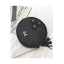 Popular Floral Bow-knot Tassel Embellishment Round Crossbody Bag