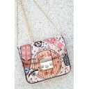 Chic Graffiti Allover Printed Pink Crossbody Bag with Chain Strap 17*8*13 CM