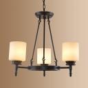 Traditional Black Suspension Light Cylinder Shade 3/6 Lights Metal Chandelier for Foyer Bedroom