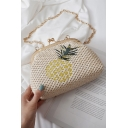Summer Fashion pineapple Embroidery Pattern Khaki Straw Crossbody Clutch Bag 20*9*15 CM