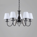 White Tapered Shade Pendant Light 5/6/8 Lights Traditional Fabric Metal Chandelier for Bedroom