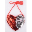 Cute Creative Heart Shape Color Block Sequined Crossbody Sling Purse 12*11.5 CM