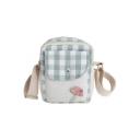 Cute Cartoon Plaid Mushroom Flat Pocket Front Crossbody Wallet Purse 14*5*17 CM