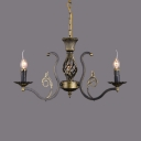 Restaurant Bedroom Flameless Candle Chandelier Metal 3/6/8 Lights Vintage Style Pendant Light