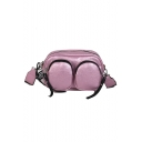 Fashion Plain Double Pockets Design Letter Strap Crossbody Shoulder Bag 22*8.5*16 CM