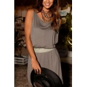 Womens Summer Casual Loose Round Neck Sleeveless Sequined Waist Plain Mini Sheath Beach Tank Dress
