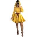 Womens Chic Off the Shoulder Long Sleeve Striped Tape Tied Waist Mini Plain A-Line Dress