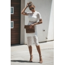 Women's Plain Printed Round Neck Short Sleeve Hollow Out Lace Detail Midi Bodycon Dress