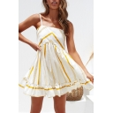 Women's Hot Sale V-Neck Sleeveless Stripes Print Mini Slip A-Line White Dress