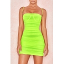 Women's Sexy Spaghetti Straps Sleeveless Backless Mini Cami Green Dress