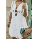 Women's New Trendy Plain Printed V-Neck Short Sleeve Cutout Detail Mini A-Line Dress