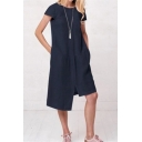 Women's Summer Trendy Plain Printed Round Neck Short Sleeve Button Detail Asymmetric Hem Linen Dress