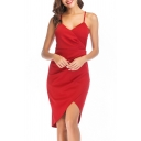 Sexy New Trendy Sleeveless Plunge Neck Plain Midi Asymmetric Hem Slip Dress For Women