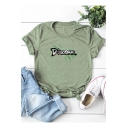 Simple Letter DINOSAUR Printed Short Sleeve Round Neck Cotton Loose Tee