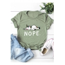 Cute Cartoon Unicorn Letter NOPE Printed Round Neck Short Sleeve Cotton Loose T-Shirt