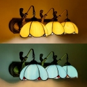 Glass Dome Sconce Light with Mermaid Hotel 3 Lights Tiffany Style Wall Lamp in Beige/Blue