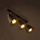 Rotatable Tapered LED Ceiling Light 3/4 Heads Industrial Track Light in Black for Cafe Restaurant