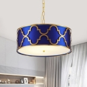 3 Lights Drum Chandelier Elegant Style Metal Suspension Light in Black/Blue/White for Hotel
