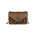 Cool Fashion Leopard Pattern Belt Buckle Embellishment Crossbody Bag 21*7.5*14 CM