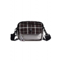 Popular Plaid Cartoon Pattern Flat Pocket Front Crossbody Shoulder Bag for Students 18*8*14 CM
