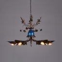 Industrial Cone Chandelier 6 Lights Metal Pendant Lighting in Bronze for Living Room