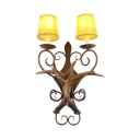Deer Horn Decoration Sconce 2 Lights Rustic Style Metal and Resin Wall Light for Coffee Shop Restaurant