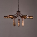 Cylinder Chandelier Light 9 Lights Industrial Metal Hanging Light in Bronze for Kitchen