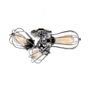 Antique Wire Frame Semi Flush Light Metal 3/4/5 Lights Chrome Semi Flush Mount Light for Kitchen