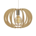 Vintage Style Melon Shape Pendant Lighting Single Light Rattan Ceiling Lighting in Beige for Bar
