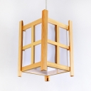 Lantern Shape Foyer Hanging Light 1 Light Vintage Style Bamboo Ceiling Fixture in Beige