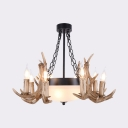 Domed Shade Living Room Hanging Light Resin and Glass 11 Lights Vintage Style Chandelier with Antlers